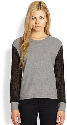 LnA Devoré Raglan-Sleeved Stretch Jersey Top