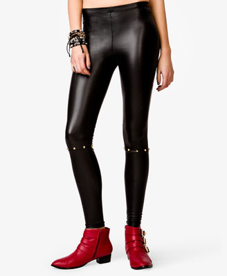 Forever 21 Spike Stud Faux Leather Leggings