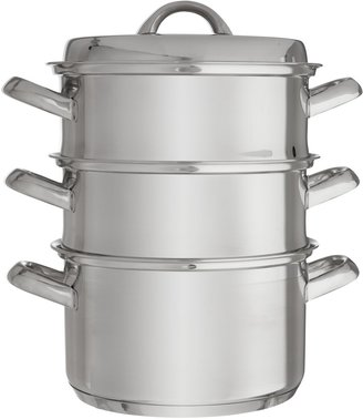 John Lewis & Partners Classic Stainless Steel 20cm Steamer Set with Lid, 3 Piece