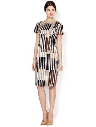 Carolina Herrera Printed Short Sleeve Cotton Dress