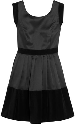 Halston Velvet-paneled pleated satin-twill dress
