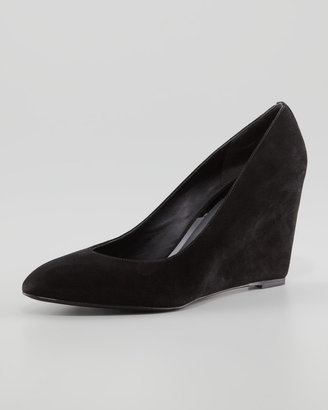 Brian Atwood Bejo Point-Toe Suede Wedge, Black