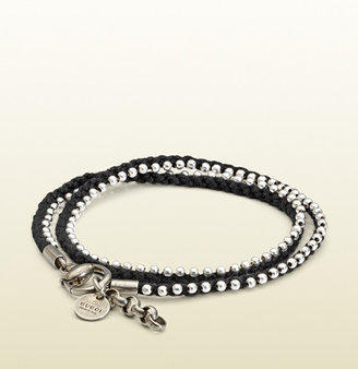 Gucci Bracelet In Sterling Silver And Black Cord With Beads