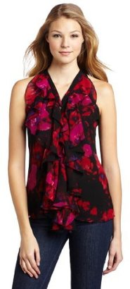 Vince Camuto Women's Streaked Floral Ruffle Front Blouse