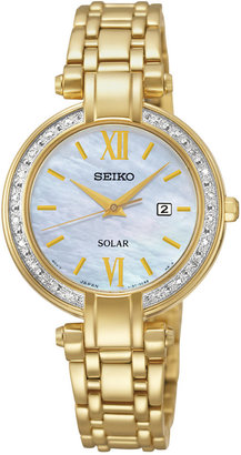 Seiko Women's Solar Diamond Accent Gold-Tone Stainless Steel Bracelet Watch 30mm SUT182 $475 thestylecure.com