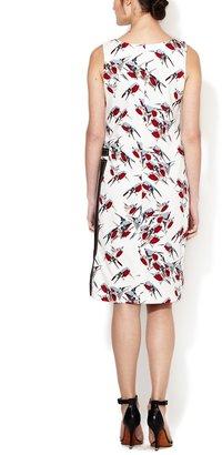 Carolina Herrera Sparrow Print Geometric Applique Dress