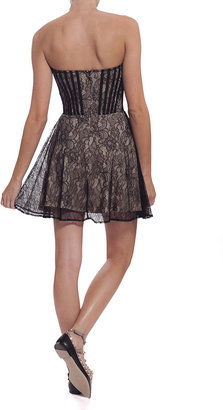 FOR LOVE & LEMONS Corset Dress - Black/Nude