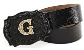 GUESS Embossed Gold-Tone Logo Buckle Belt