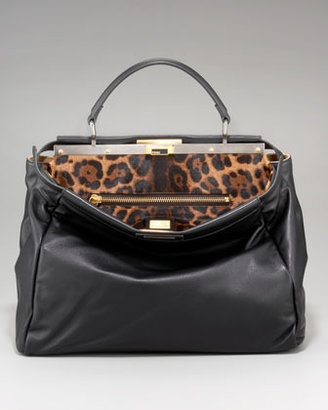 Fendi Leopard-Print Calf Hair Peekaboo Bag