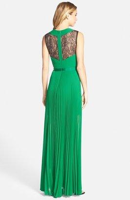 BCBGMAXAZRIA 'Caia' Lace Inset Pleat Chiffon Gown