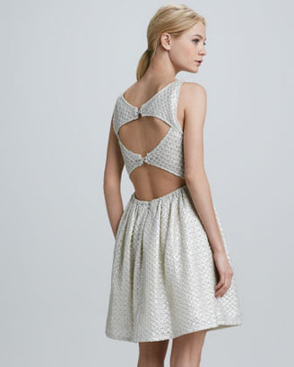 Alice + Olivia Jacquard Cutout-Back Dress