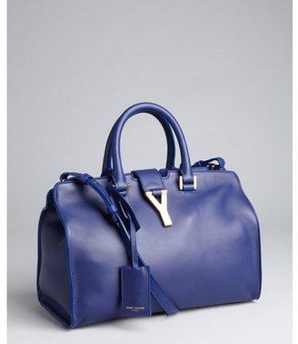 Yves Saint Laurent royal blue leather convertible satchel
