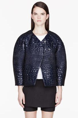 Kenzo Metallic Blue Reptile skin embossed Formal jacket