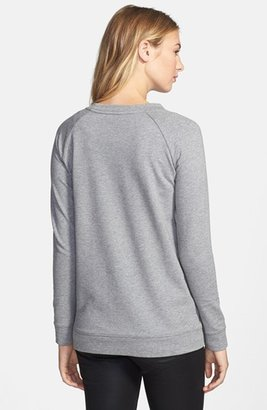 Vince Camuto Two by Embellished Raglan Sleeve Cotton Blend Sweatshirt