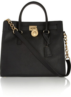 MICHAEL Michael Kors - Hamilton Large Textured-leather Tote - Black $360 thestylecure.com