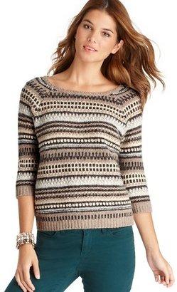 LOFT Multi Stripe 3/4 Raglan Sleeve Sweater