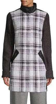 Jones New York Plaid Mockneck Coat