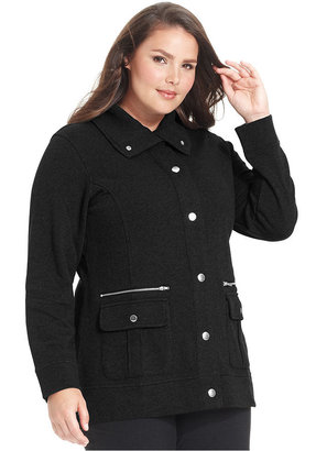 Style&Co. Sport Plus Size Active Snap-Front Jacket