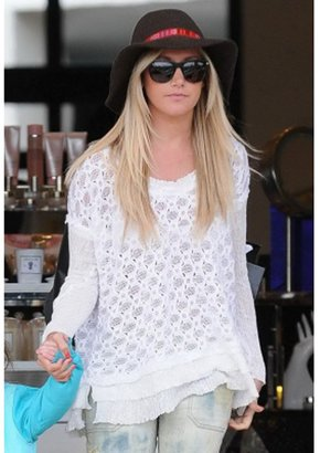 Free People Boxy Textured Pullover in White as Seen on Ashley Tisdale