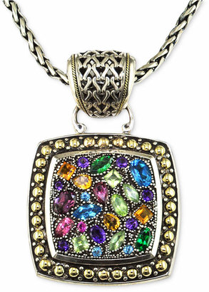 Effy Balissima by Multistone Square Pendant in Sterling Silver and 18k Gold