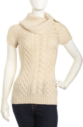BCBGMAXAZRIA Short-Sleeve Cable-Knit Sweater, Corozo