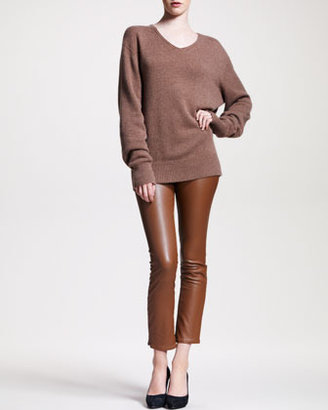 The Row Flared Leather Leggings