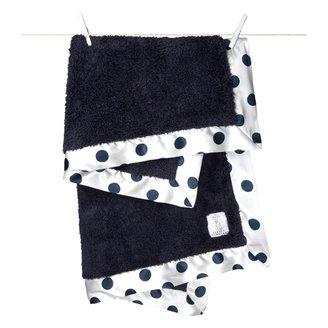 Little Giraffe Chenille New Dot Baby Blanket - Denim