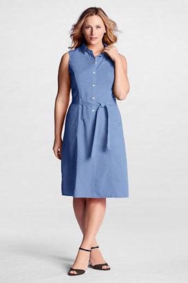 Lands' End Women's Plus Size Sleeveless Poplin Dress