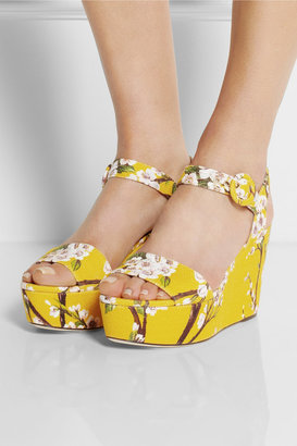 Dolce & Gabbana Blossom-print canvas wedge sandals