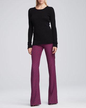 Diane von Furstenberg Petunia Chain-Print Flared Silk Pants