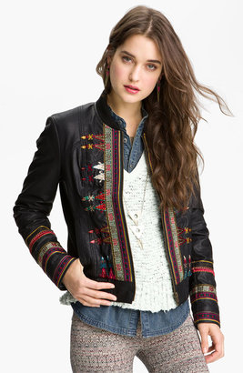 Free People Embroidered Faux Leather Jacket