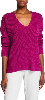 Eileen Fisher Organic Linen-Cotton Deep V-Neck Slub Tunic