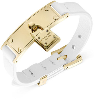 Michael Kors Gold-Tone and White Leather Padlock Charm Adjustable Bracelet