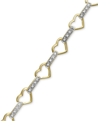 Townsend Victoria 18k Gold over Sterling Silver Bracelet, Diamond Accent Heart Link