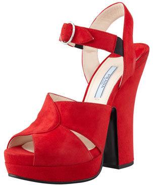 Prada Buckled Suede Platform Sandal, Red
