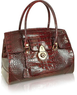 L.a.p.a. Ruby Red Croco Stamped Patent Leather Satchel Bag