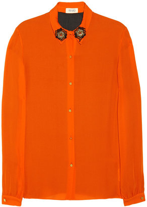 Kenzo Jewel-embellished two-tone silk-georgette shirt