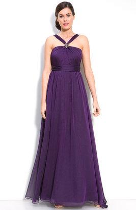 Monique Lhuillier Bridesmaids Cationic Chiffon Halter Gown (Nordstrom Exclusive)