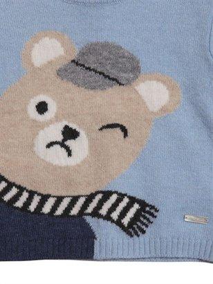 Simonetta Bear Motif Wool Blend Sweater