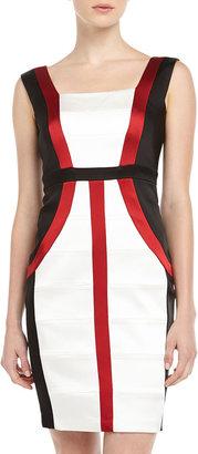 Jax Satin Colorblock Bandage Dress, Ivory/Ruby/Black