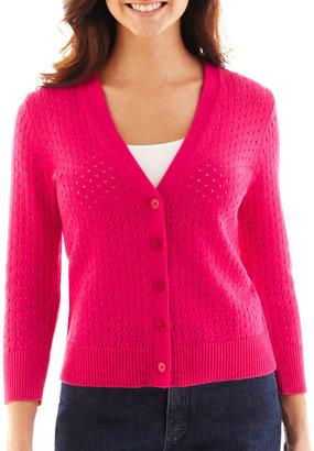 Liz Claiborne 3/4-Sleeve Pointelle Cardigan Sweater
