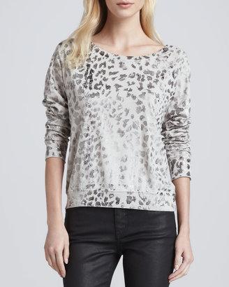 Current/Elliott The Letterman Leopard-Print Sweatshirt