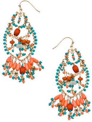 Flying Lizard Gold Turquoise and Coral Chandelier Earrings