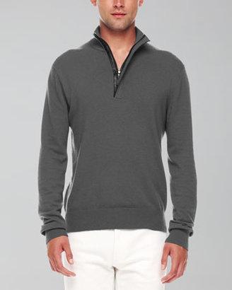Michael Kors Leather-Trim Half-Zip Sweater, Ash Melange