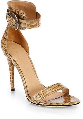 Sigerson Morrison Kadie Croc-Embossed Leather Sandals