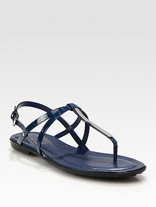 Tod's Patent Leather Thong Sandals