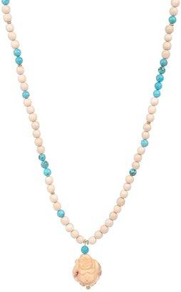 Yochi Design Yochi Turquoise & Ivory Beads with Buddha Necklace