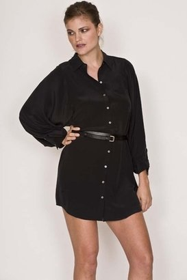 Joie Justina Belted Silk Dress in Caviar $298 thestylecure.com
