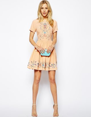 Asos Premium Skater Dress With Pretty Floral Embroidery