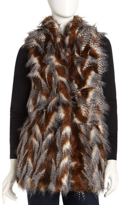 Romeo & Juliet Couture Mixed-Fur Vest, Brown